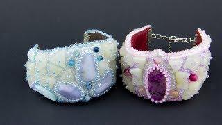 Женские браслеты из бисера и агатов