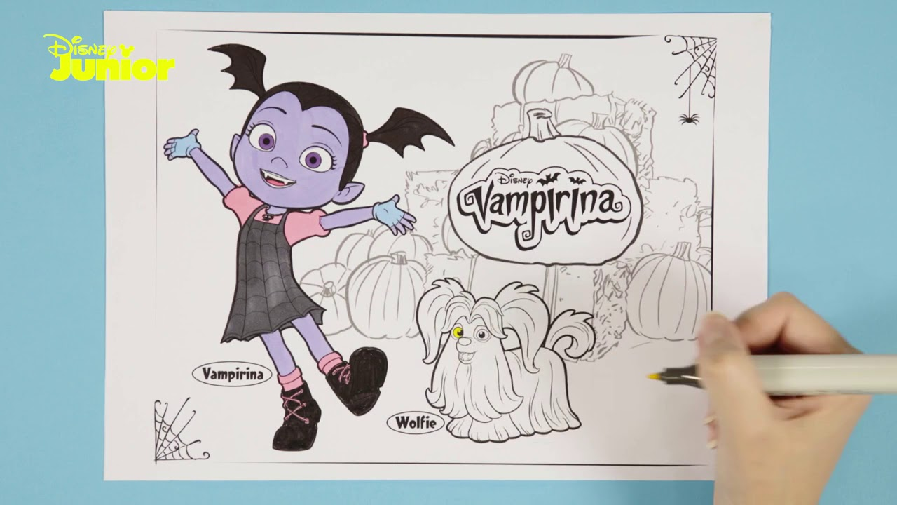 Vampirina Tutorial Per Colorare Vee E Wolfie Disney Junior