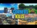 THE 4 CORNER 0 KILLS CHALLENGE IN FORTNITE!!!