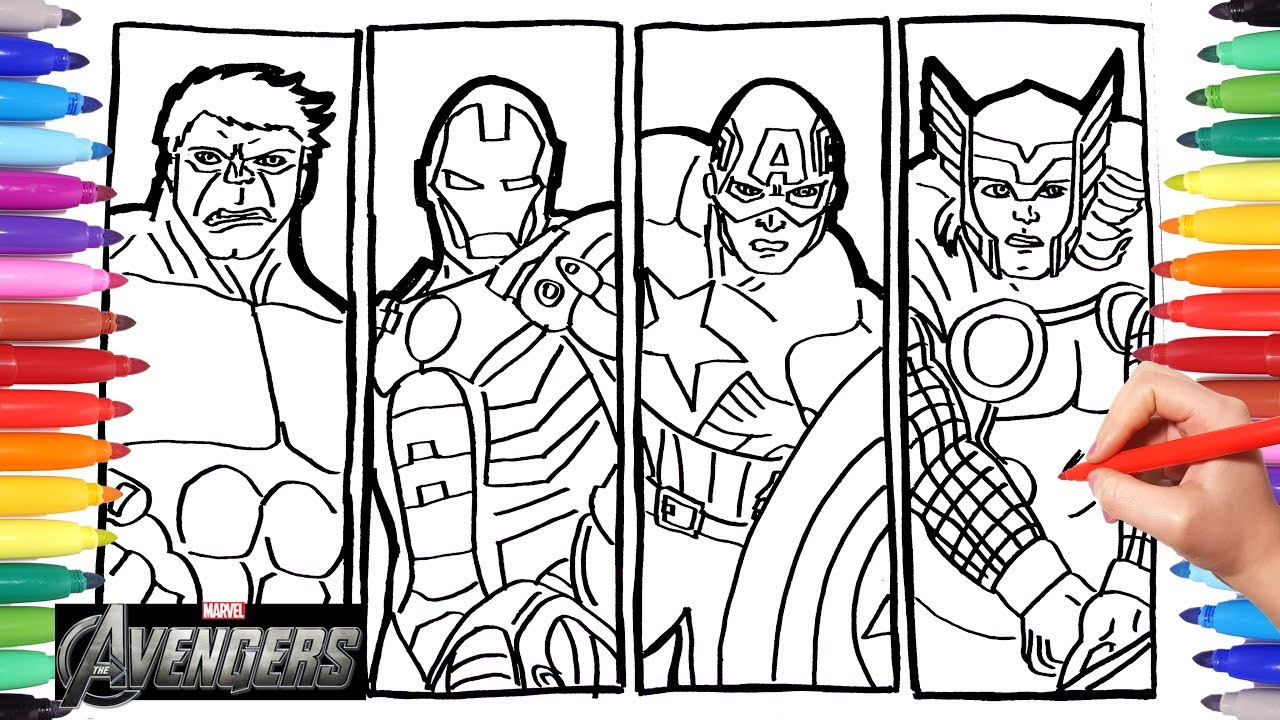 Iron Man, Thor, Hulk, Captain America Coloring Pages For Kids