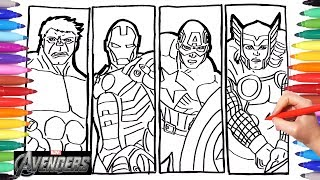 AVENGERS DRAWING & COLORING | Iron Man, Thor, Hulk, Captain America Coloring Pages for Kids