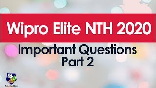 Important questions for Wipro NTH 2020 exam Part 2 !