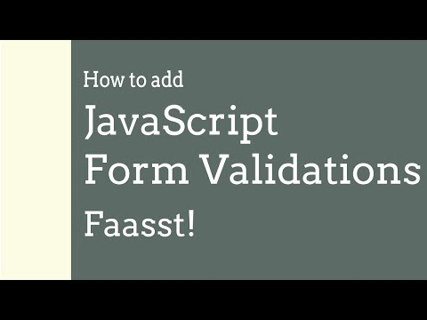 JavaScript Form Validation : quick and easy!