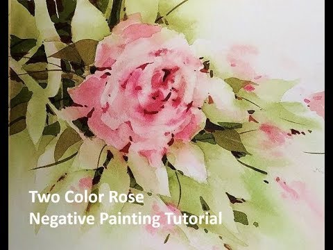 Transparent Watercolor Two Color Rose Negative Painting Tutorial