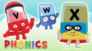 Phonics - Learn to Read | Letters V, W, X | Alphablocks