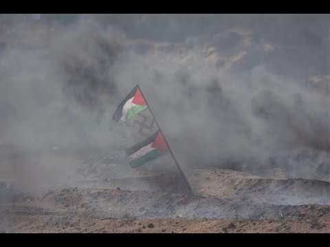 Palestinian Flag and Swastika Fly in Gaza