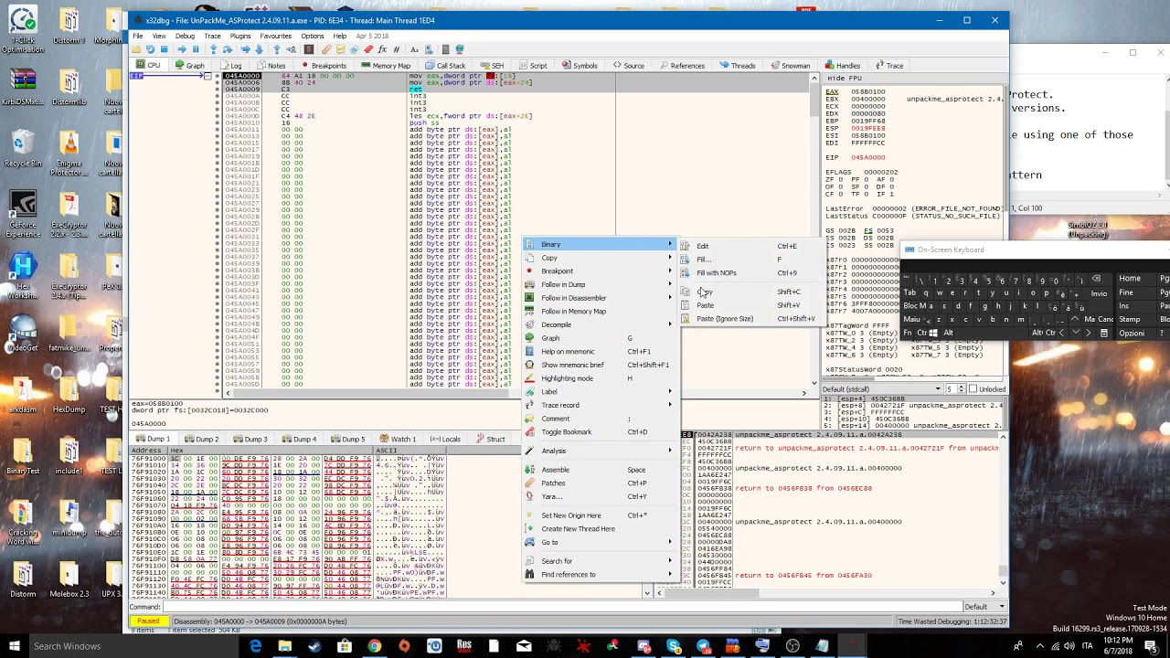 Unpacking ASProtect 2 x SKE + Patching some stolen IAT calls with