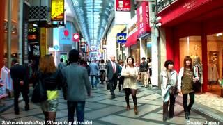 Walking Through Shinsaibashi Shopping Arcade @ Osaka Japan [Namba HD POV ]   心斎橋