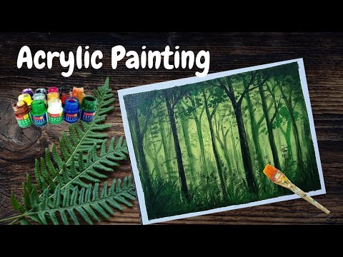 Dark forest Acrylic Painting | Easy Acrylic techniques on Canvas | Acrylic Tutorial for beginners