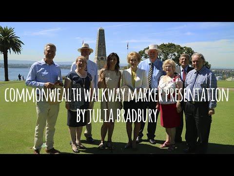 Julia Bradbury handing over the first Commonwealth Walkway Marker for Western Australia