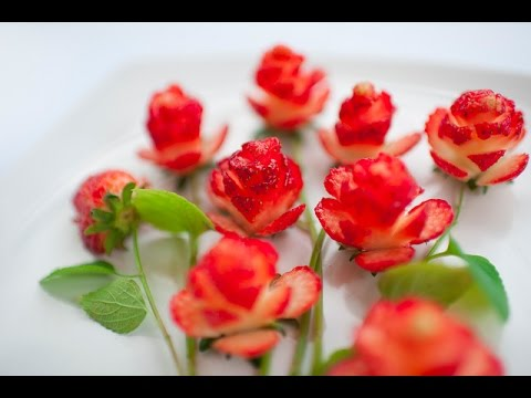 How to Make Strawberry Flowers | Strawberry Art Red Rose | Fruit Carving Strawberries Garnishes