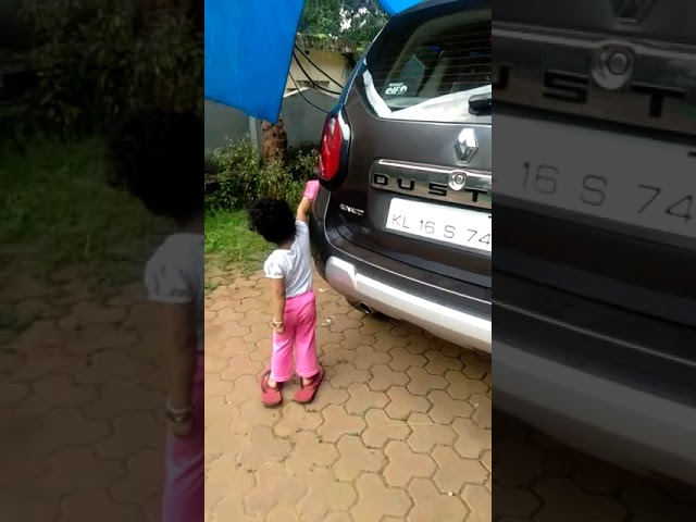 Two years old babies sincere car cleaning