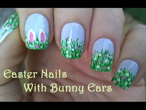 Spring Amp Easter Nail Art With Bunny Ears Collab With Thenailmaniacc Youtube
