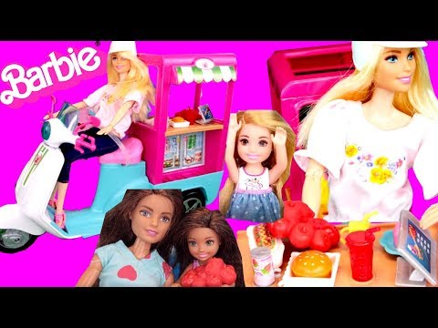 Barbie Doll Story Delivers Food in Her Bistro Cart to Sister Chelsea in the Tree House Toy Story