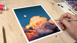 How I paint GLOWING clouds || OIL PAINTING TUTORIAL screenshot 1
