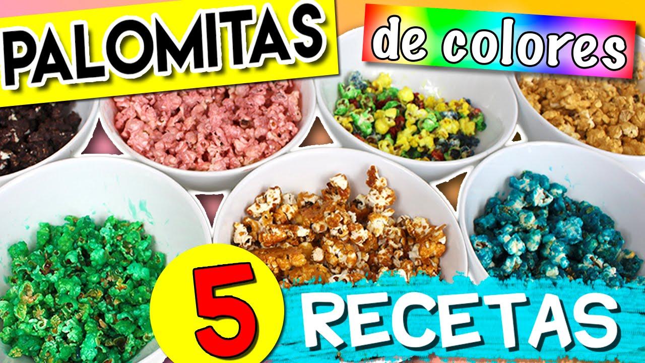 Cómo hacer PALOMITAS DE COLORES * 5 RECETAS de palomitas dulces ...