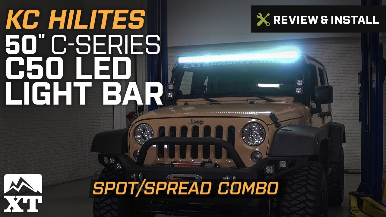 small resolution of kc hilites jeep wrangler 50 in c series c50 led light bar spot spread combo 0338