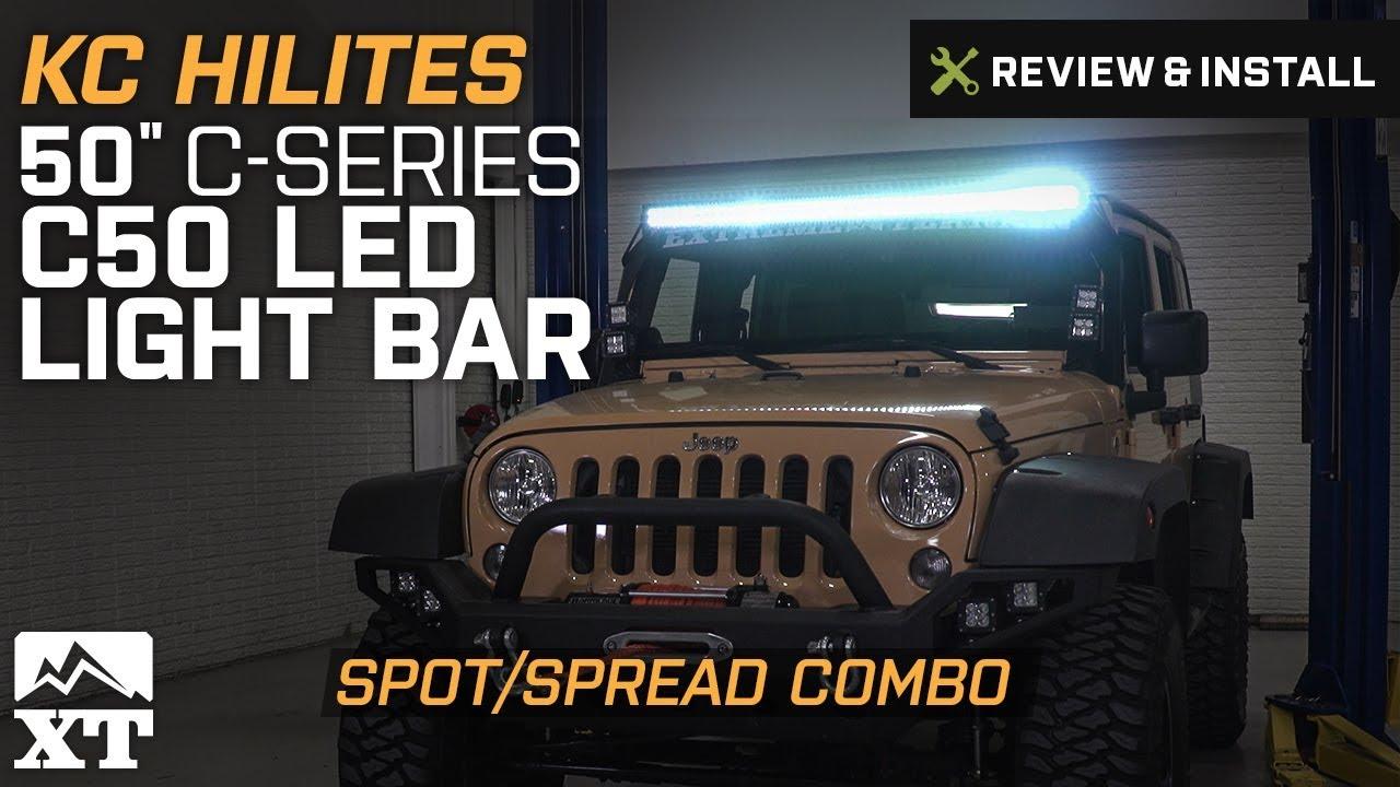 kc hilites jeep wrangler 50 in c series c50 led light bar spot spread combo 0338 [ 1280 x 720 Pixel ]