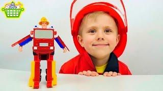 Трансформер Пожарный Сэм и База   ВИДЕО ДЛЯ ДЕТЕЙ с Даником и игрушками Fireman Sam(Пожарный Сэм (Fireman Sam) это один из самых любимых мультиков у Даника, поэтому он очень захотел показать детям..., 2016-05-15T09:48:07.000Z)