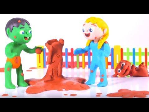 KIDS MAKING MUD FIGURES ❤ SUPERHERO PLAY DOH CARTOONS FOR KIDS