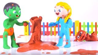 KIDS MAKING MUD FIGURES ❤ SUPERHERO PLAY DOH CARTOONS FOR KIDS