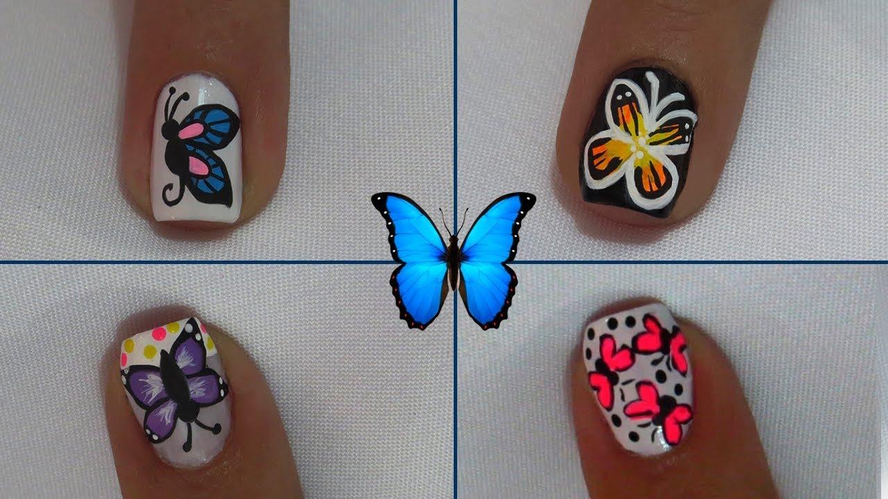 Decoraciones De Uñas Con Mariposas Fáciles De Hacer Youtube