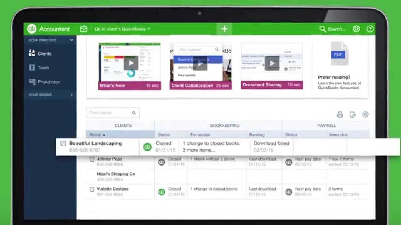 QuickBooks Online Accountant: Client Dashboard Navigation