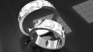 Золотые свадебные кольца с черным бриллиантом