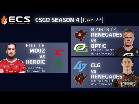 ECS CS:GO S4 DAY 22: Mouz vs Heroic /// Renegades vs Optic // CLG vs NRG