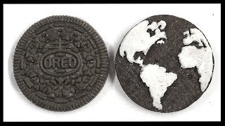 How to Draw EARTH -  Planet Earth Carving - OREO COOKIE SCULPTURE