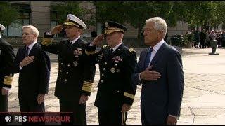 U.S. Defense Secretary Hagel Lays Wreath at Navy Memorial in Honor of Navy Yard Shooting Victims
