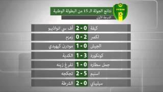 نتائج الجولة الـ 15 من البطولة الوطنية - الدرجة الأولى