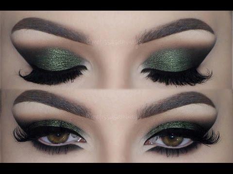 Olive Green Cat Smokey Eyes Make Up Tutorial