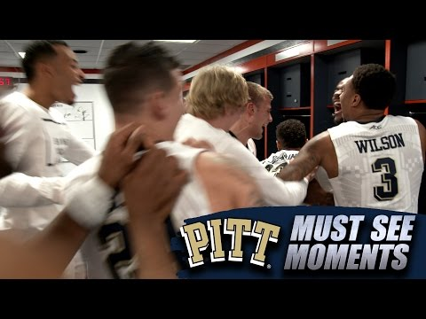 Pitt Teammates Mobs Cameron Johnson After ACC Tournament Win Over Syracuse