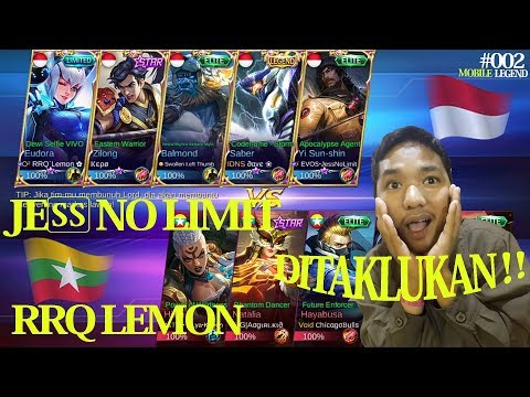 JESS NO LIMIT & RRQ lemon DITAKLUKKAN MYANMAR ARENA KONTES MOBILE LEGEND MATCH 1