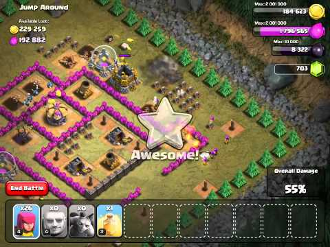 Clash of clans Jump Around goblin base TH7 troops