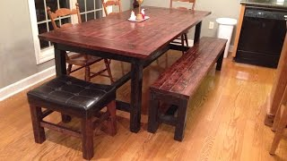 DIY How to build a Farmhouse table and bench