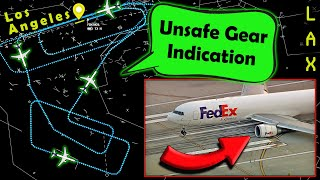 FedEx B763 Emergency Landing at LAX | LEFT MAIN GEAR NOT EXTENDED