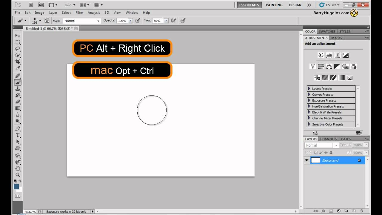 no outline to see the eraser brush | Adobe Community