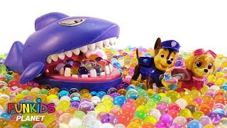 Paw Patrol Swim in Pool of Orbeez with Shark