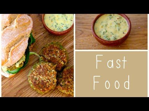 Erbsen-Hirse-Burger mit Kräuter-Senf-Dressing / Fast Food...mal ganz Slow / LadyLandrand