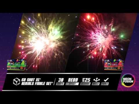 Neon Fusion 60 Shot XL Aerial Finale Set Fireworks R-4659