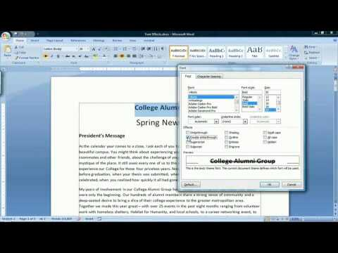 How to Use Font Effects in Microsoft Word 2007