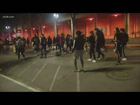 Night protests continue in downtown San Diego for a third night