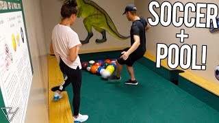 What Happens When You Mix Soccer and Pool?! - SOCCER POOL BATTLE!