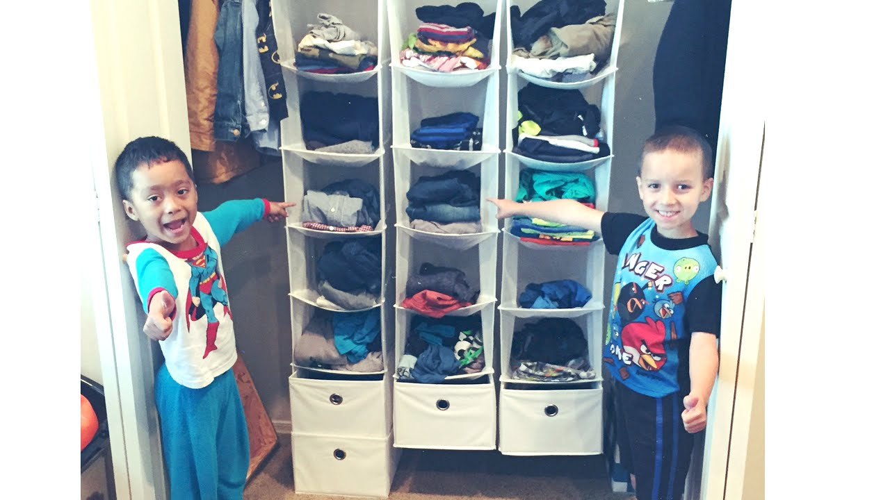 6f857564e32 How to organize  Kids clothes closet ♡ No MORE hanging! - YouTube