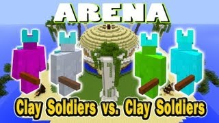 Minecraft Arena Battle Clay Soldier vs Clay Soldier - Light Grey vs Lime vs Light Blue vs Magenta