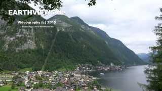 4k Hallstatt village overview in Austria alps
