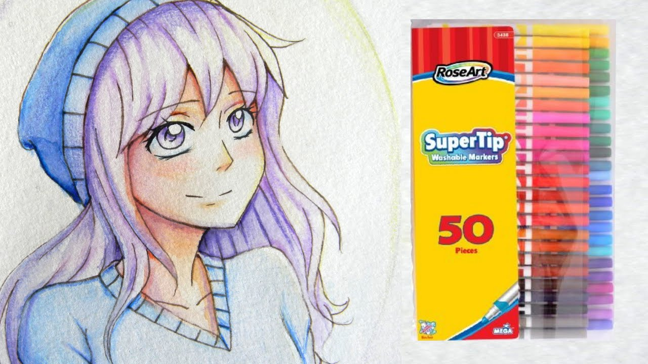 Coloring a manga girl with roseart markers and colored pencils youtube