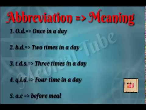 Common Medical Term and abbreviations || How to read prescription || Pharmacy abbreviation